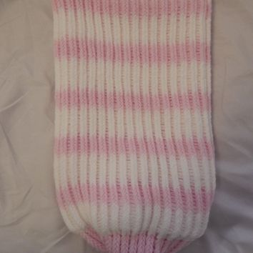 Pink And White Knitted Baby Cocoon