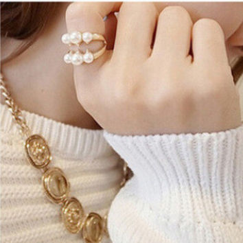 Gift Shiny Jewelry New Arrival Stylish Accessory Pearls Ring [6573125895]