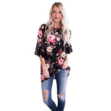 Z| Chicloth Mid Length Bell Sleeve Black Pink Floral Blouse
