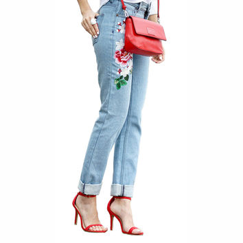 Embroidered Denim Jeans Women Brand Middle-waisted Straight Jeans for Women Large Size Jeans with Flowers Pattern Free Shipping