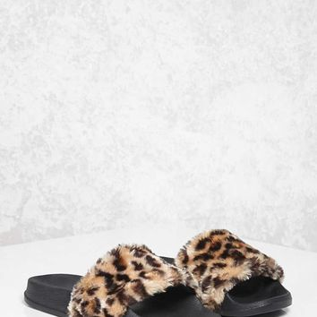 Faux Fur Leopard Slides