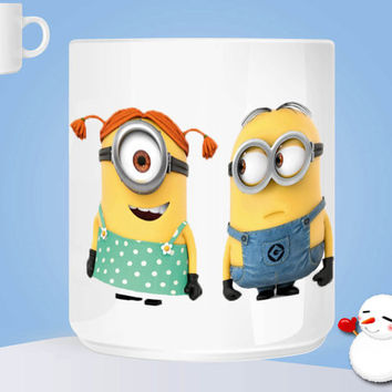 minions with girl friend Ceramic Coffee Mug