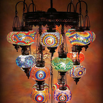 Turkish Mosaıc Chandelier 21 Globe Large