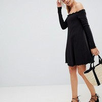 ASOS TALL Babylock Rib Off Shoulder Mini Dress at asos.com