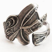 Vintage Native American Indian in a Canoe Sterling Silver Spoon Ring, Handcrafted & Adjustable to Your Size (4452)