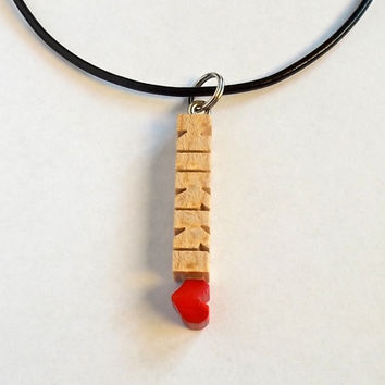 MicroTag - Name Pendant with Cord - Wood HeartFob in Birdseye Maple - Handmade to Order