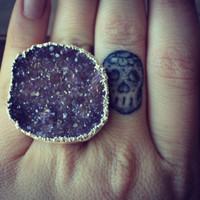 Size 7.5 /// Lux Divine Amethyst Druzy Stackable Gemstone Ring /// Silver
