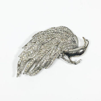 Rhinestone Peacock Brooch Vintage 1930s 1940s Pot Metal Bird Pin Feathers Pave Rhinestones Sparkling Bird of Paradise Edwardian Victorian