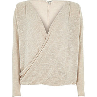 River Island Womens Beige wrap front long sleeve top