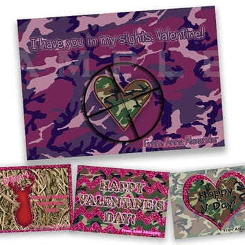 Girls Pink Camo Valentines  - Hunter Classroom Valentines - Purple Camouflage Heart Valentine Card - Deer - Printable - Personalized - Set