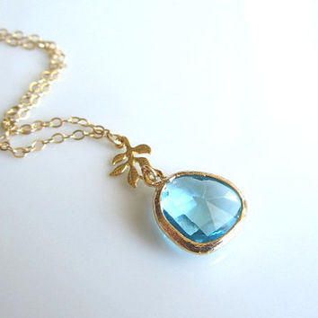 Crystal Blue Glass Pendant with Tiny Gold Leaf Necklace - simple and beautiful everyday wear