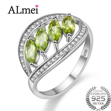 Almei New Peridot Citrine Sapphire Wedding Ring Garnet Pendant 925 Sterling Silver Women Fine Jewelry with Box for Dropshipping