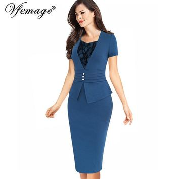 Vfemage Womens 2017 Summer Elegant Peplum Slim Ruched Vintage Lace Casual Work Business Office Bodycon Knee Pencil Dress 6032