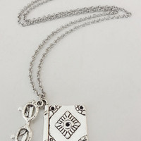 Librarian Necklace in Silver, Reader's Necklace, Silver Hypoallergenic Chain