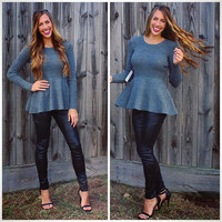 Perfectly Peplum Sweater - Grey