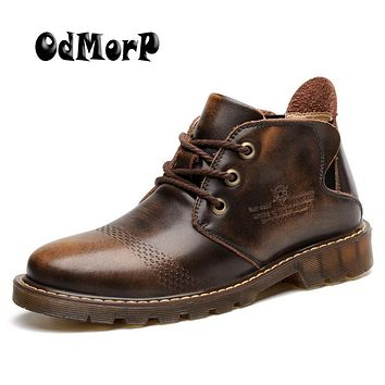 ODMORP New Men Boots Warm Fur Boots Fashion Leather Ankle Booties Cool Motorcycle Shoes Men Winter Shoes Botas