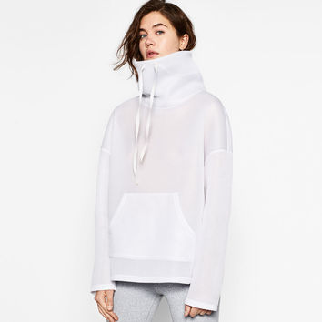 SWEATSHIRT WITH HIGH COLLAR DETAILS