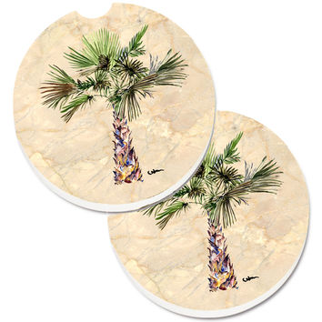 Palm Tree Set of 2 Cup Holder Car Coasters 8480CARC