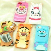 3D Japan Cartoon Disney Silicone Soft Back Full Case Cover For iPhone 5 4 4S 5S
