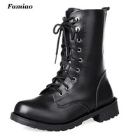 2016 New Arrival Combat Military Boots Women's Motorcycle  Gothic Punk Combat Boots For Female Shoes Size 35-42