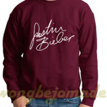 Justin Bieber Sweatshirt, Signature Bieber Fever Purpose Album, Unisex Womans Mens, Sweater Justin Bieber Shirt Top Pullover Pop Tumblr