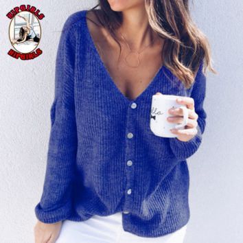 New fashion solid color long sleeve top sweater Blue