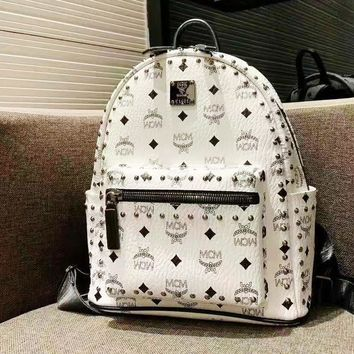 MCM Women's New Fashion Casual Print Studded Backpack Travel Bag