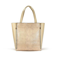 Snake Print Bag With Pouch In Apricot