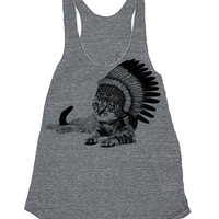 Womens CAT INDIAN Tank Top --- american apparel Tri-Blend s m lg (8 Color Options)  grey m8a
