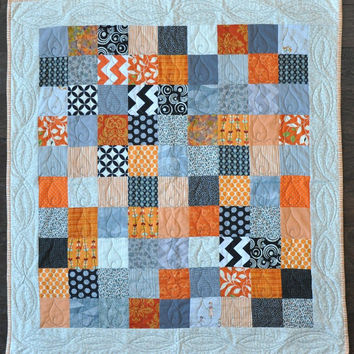 Modern Baby Quilt - Baby, Toddler, Stroller - Neutral Patchwork READY TO SHIP - Puppy Rescue