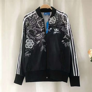 adidas Originals Lace Flowers Zipper Cardigan Sweatshirt Jacket Coat