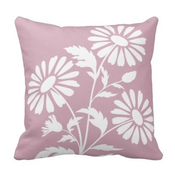 """Light Little Flowers"" Pink Floral Pillow"