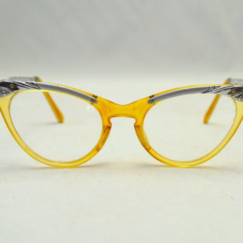 Vintage US Optical Cat Eye Glasses, Yellow Blue and Silver Eyeglass Frames