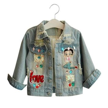 LILIGIRL Girls Denim Jackets for Baby Autumn&Winter Cartoon Pattern Sequins Coat Windbreaker 2018 Vintage Kids Clothes Outwear