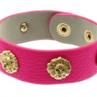 Hot Pink Lion Cuff Leather Bracelet