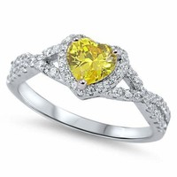 Sterling Silver 925 HEART LOVE KNOT YELLOW CLEAR CZ PROMISE RING 8MM SIZES 4-12