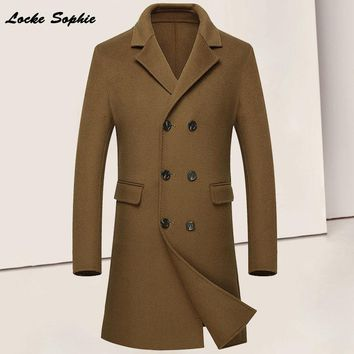1pcs Men's plus size slim fit Long Blends jacket Cashmere woolen Double-breasted