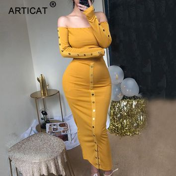 Articat Two Piece Set Sexy Strapless Bodycon Dress Autumn Long Sleeve Split Buttons Long Dress Women Winter Backless Party Dress