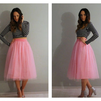 Plus size tea length pink tulle skirt, plus size tulle skirt, plus size skirt, tea length tulle skirt, tulle skirt, plus size clothing.