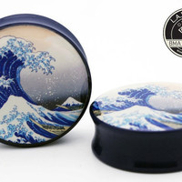 Great Wave by Hokusai Blockprint on Navy Power Plugs 1 by BMAMOD