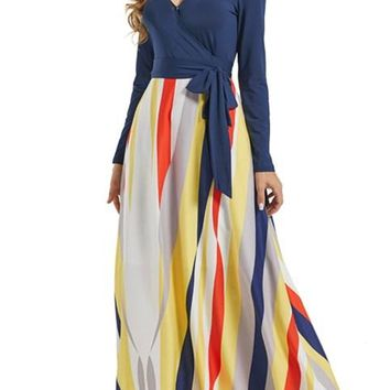 Fashion Blue Long Sleeve Yellowish Striped Skirt Maxi Dress
