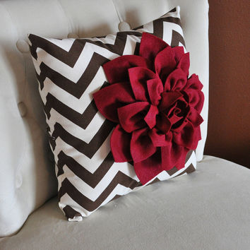 Red Ruby Dahlia Pillow