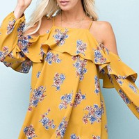 Cold-Shoulder Floral Top (Mustard)