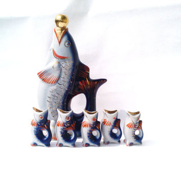 Vintage Soviet Porcelain Fish Carafe with 5 Shot Fish Glasses / Made in USSR in 1970s / Kitchen Decor
