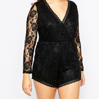 Plus Size Black Floral Long Sleeve Elastic Waist V-Neck Wrap Around Lace Romper