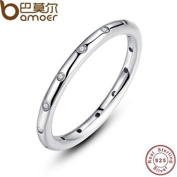 DCCKU62 BAMOER 925 Sterling Silver Droplets Stackable Finger Classic Ring for Women Wedding Original Fine Jewelry PA7132
