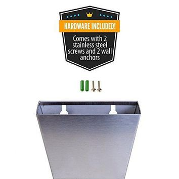 Wall Mounted Brushed Stainless Steel Beer and Soda Bottle Cap Catcher Bin Bucket Free Mounting Hardware Simple Installation Mount Easy Remove Replace to Empty by Global Metal DesignsTM