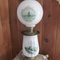 Boudoir Lamps Antique Oil Lamp Round Ball Globe Lamps Art Nouveau Lamp Decor Glass Table Lamps Victorian Kerosene Parlor Lamp Nautical Decor