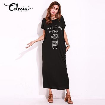 First I Need Coffee Stretchy Basic T-Shirt Maxi Dress