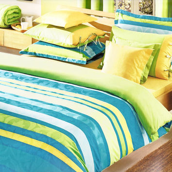 Custom King Size Ocean Blue Turquoise Lime Green Yellow Striped and Damask Print Bedding Set